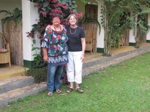 Ineke and Barbara at Ruwenzori View Guesthouse