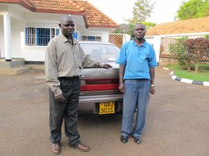 My driver, Kaiswa Amooti is on the right. His brother, David, our Kampala navigator, is on the left.