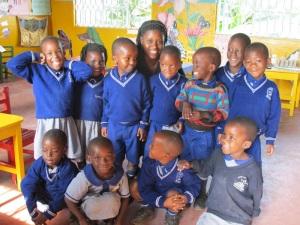 Former Weston Field School Scholar, Jenipher, and Her Preschool Class