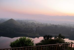 Sunset at Kyaninga Lake - Looking to the Ruwenzori